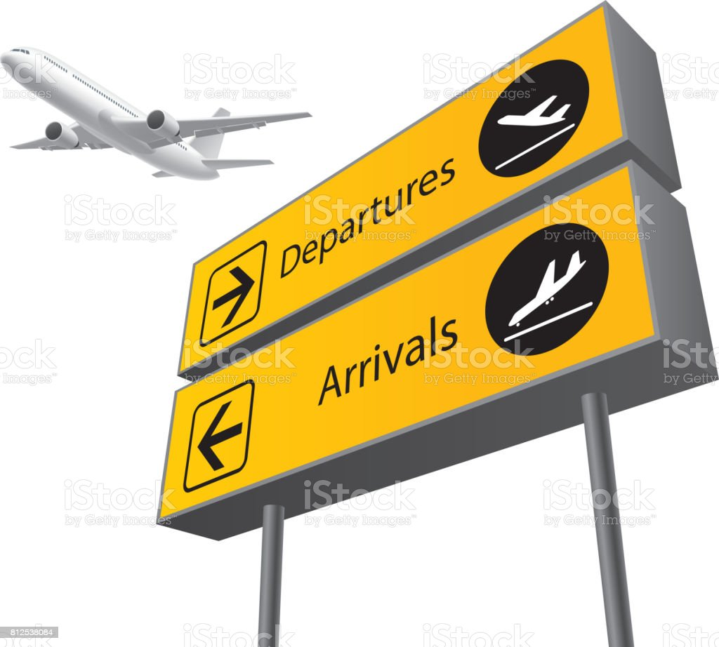 arrival and departure board vector art illustration