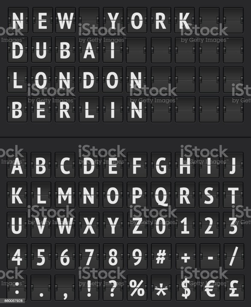 Arrival Departure Board and alphabet vector art illustration