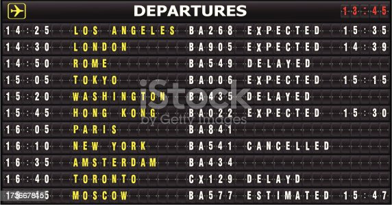 The Display Board In An Airport With Departure. See also