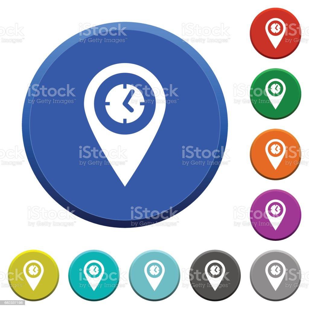Arrival time GPS map location beveled buttons royaltyfri arrival time gps map location beveled buttons-vektorgrafik och fler bilder på avsats