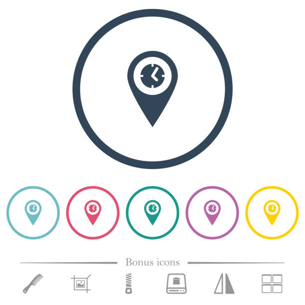 Ankunftszeit GPS-Karte Lage flache Farbsymbole in runden Umrissen – Vektorgrafik