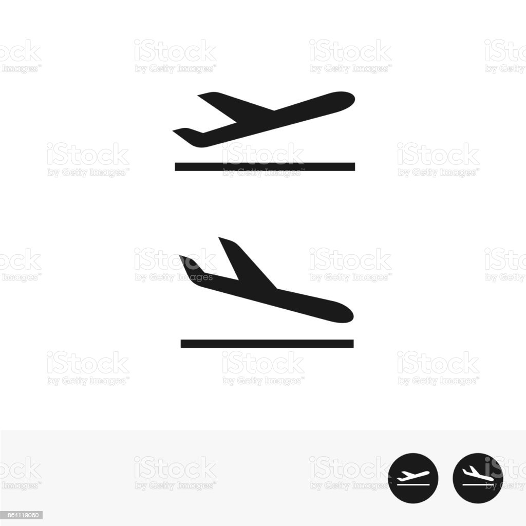 Arrivals and departure plane icons. royalty-free arrivals and departure plane icons stock vector art & more images of airplane
