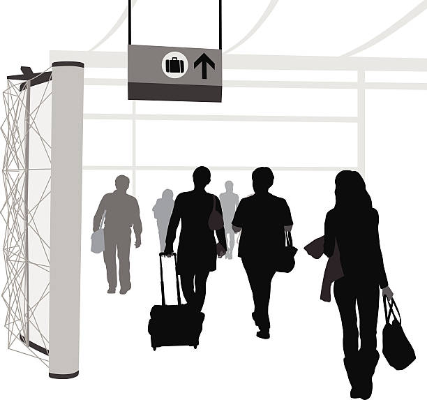 Arrivals After departing from their plane, passengers make their way to baggage claim. airport silhouettes stock illustrations