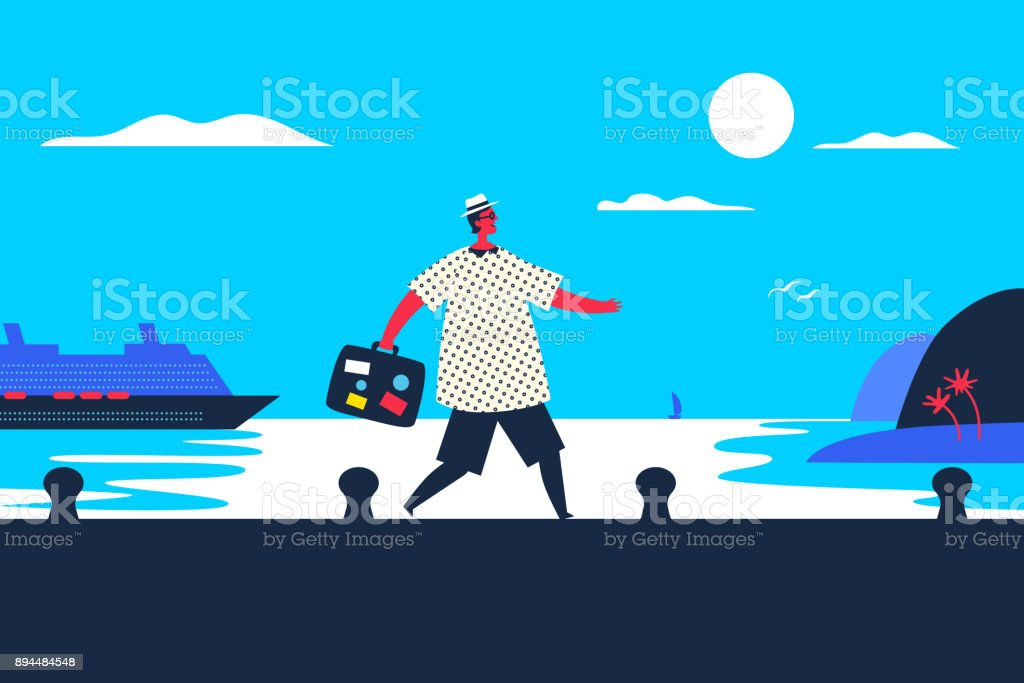 arriving at destiny. Vacations time!! vector art illustration