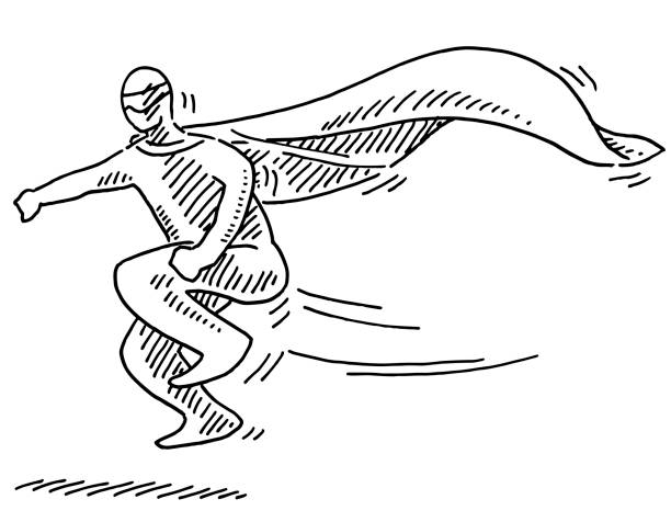 Arriving Super Hero Figure Drawing Hand-drawn vector drawing of an Arriving Super Hero Figure. Black-and-White sketch on a transparent background (.eps-file). Included files are EPS (v10) and Hi-Res JPG. human representation stock illustrations