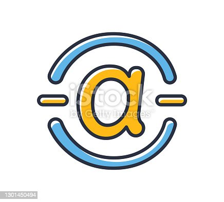 istock Arroba icon. Email icon isolated on white background. Design elements, colored. Can be used for mobile concepts and web applications, brochures, social networks. Flat style vector illustration. 1301450494