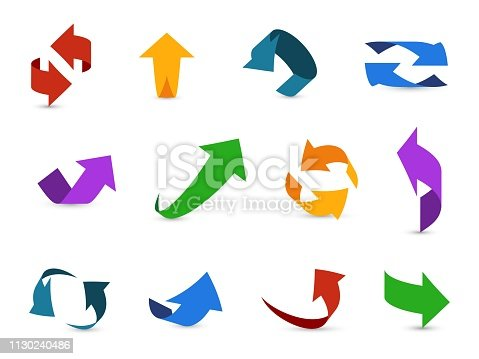 Arrow 3d set. Colorful arrows symbols economy info circular path interface up down internet direction cursor icons vector illustration