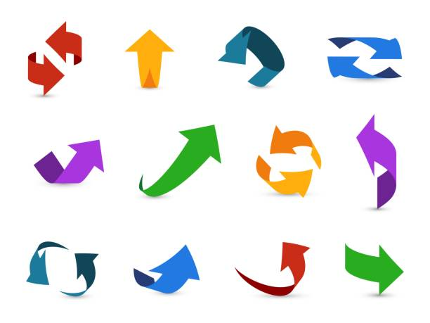 ilustrações de stock, clip art, desenhos animados e ícones de arrow 3d set. colorful arrows symbols economy info circular path interface up down internet direction cursor icons - circular economy