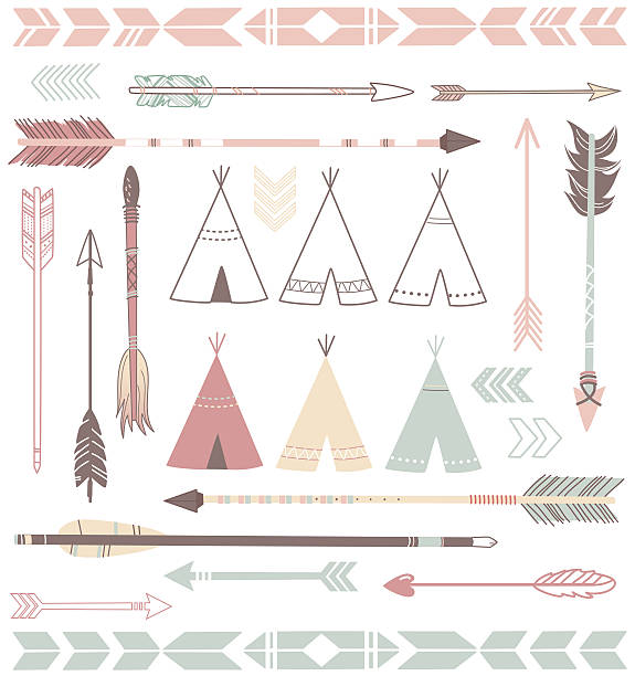 Arrow 7 Arrow and teepee design teepee stock illustrations