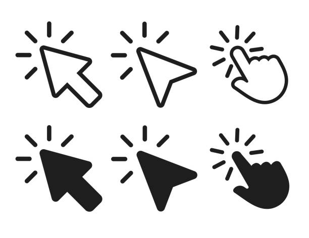 arrow and hand cursor clicking icon. vector illustration. arrow and hand cursor clicking icon. vector illustration. {{relatedSearchUrl(carousel.phrase)}} stock illustrations
