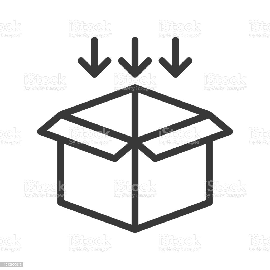 Arrow And Open Box Shipping And Logistic Icon Outline Design Pixel