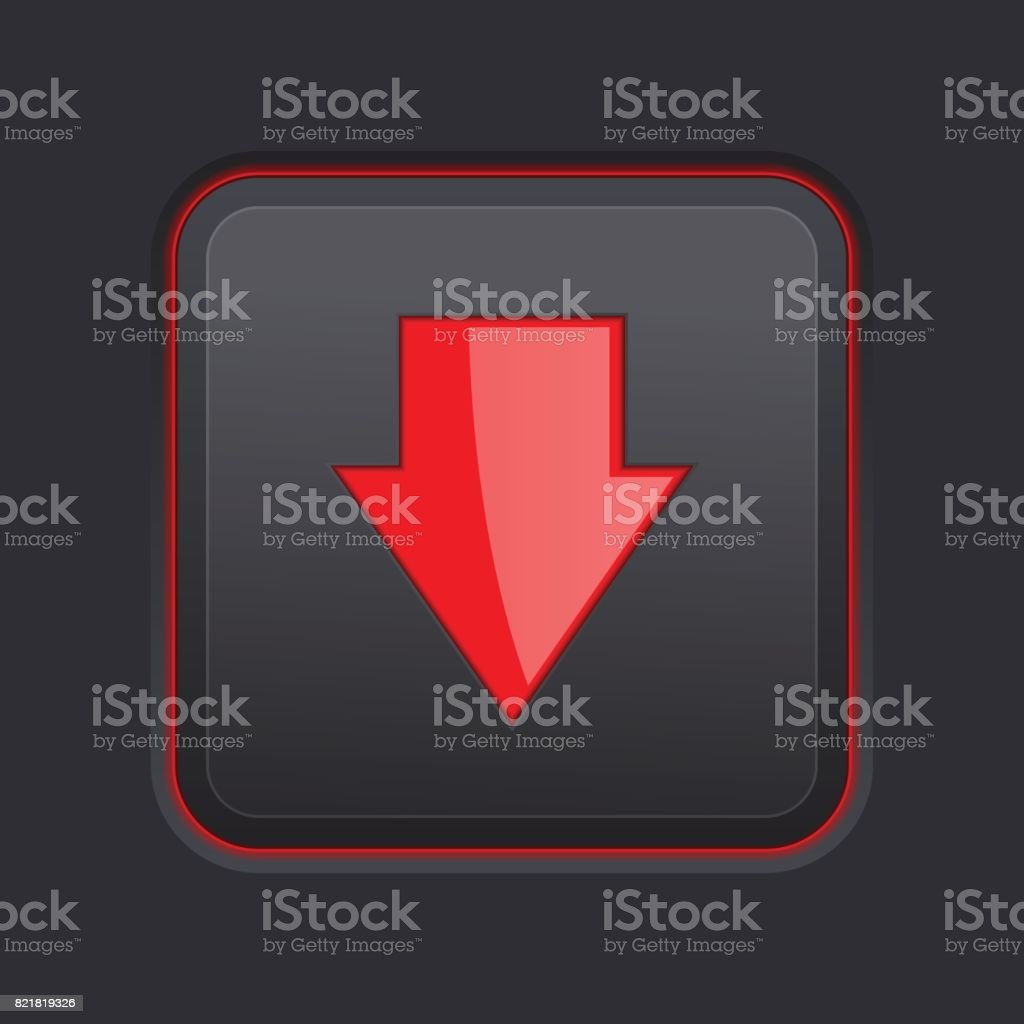 DOWN arrow black button. Red sign vector art illustration