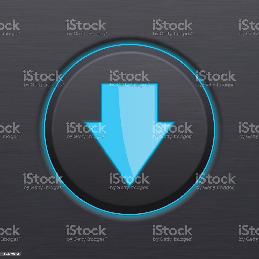 DOWN arrow black button vector art illustration