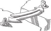 Hand-drawn vector drawing of a Arrow Bridge Connection Concept. Black-and-White sketch on a transparent background (.eps-file). Included files are EPS (v10) and Hi-Res JPG.