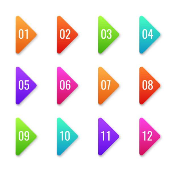 화살표 글머리 기호입니다. 다채로운 포장기 총알 템플릿 방향 모양 마커 다음 번호 커서 버튼 웹 세트 평면 벡터 요소 - 금융 수치 stock illustrations