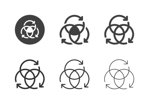 Arrow Circle Icons - Multi Series vector art illustration