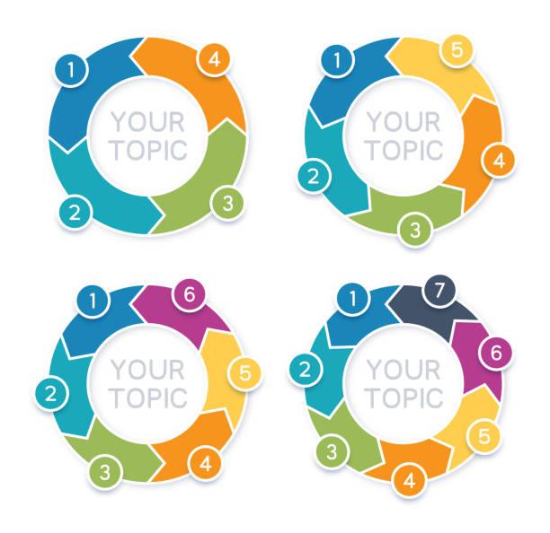 arrow circle infographics - rower stock illustrations