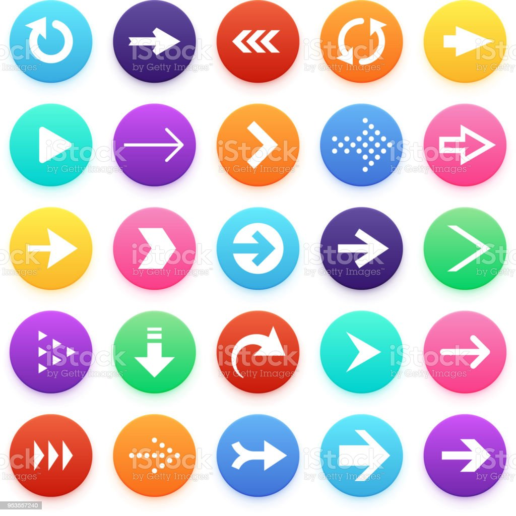 Arrow Color Web Button Icons Arrowhead And Repeat Direction Vector