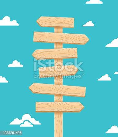 istock Arrow Crossroads Direction Wood Sign Post 1255261423
