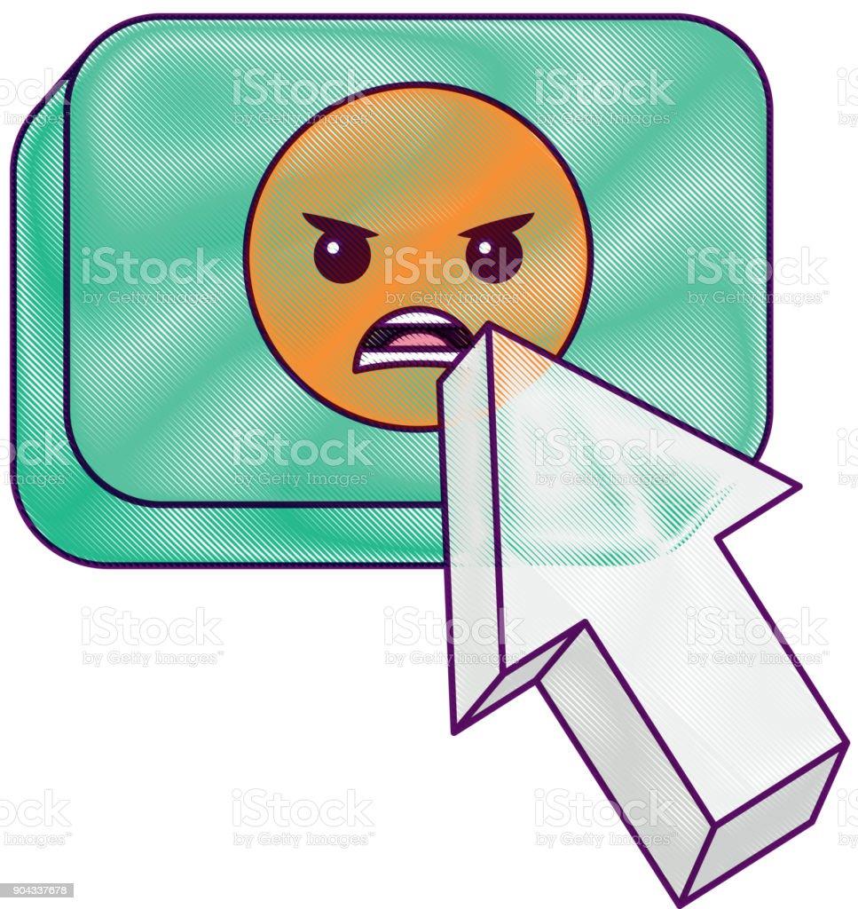 arrow cursor with emoticon angry button icon vector art illustration