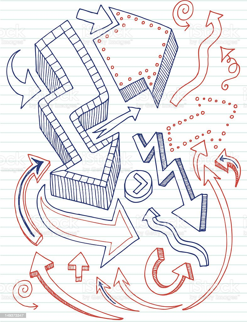 Arrow Doodles royalty-free stock vector art
