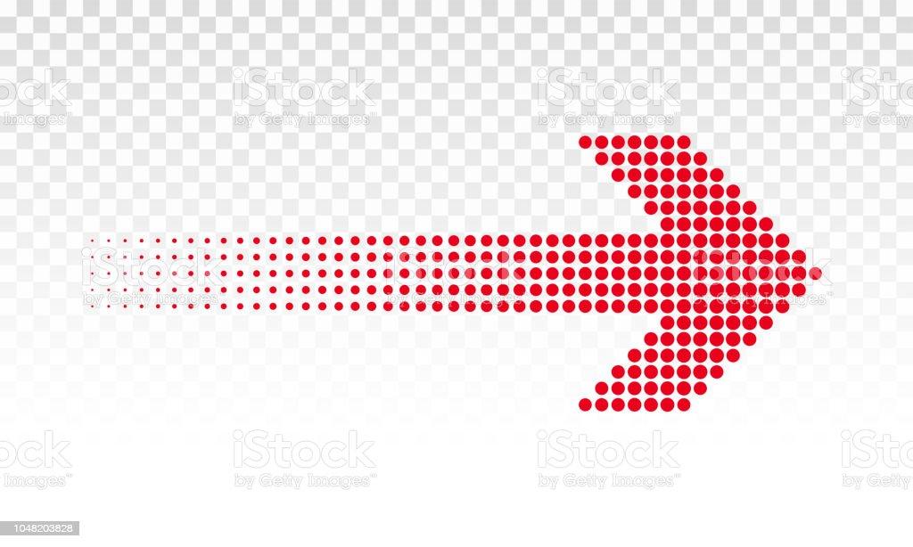 Flèche noire pointée logo signe ou un vecteur de direction avec motif à pois rouge demi-teinte numérique LED flèche noire pointée logo signe ou un vecteur de direction avec motif à pois rouge demiteinte numérique led vecteurs libres de droits et plus d'images vectorielles de abstrait libre de droits