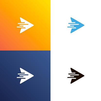 Arrow fast design logo. Arrows icon isolated. Vector