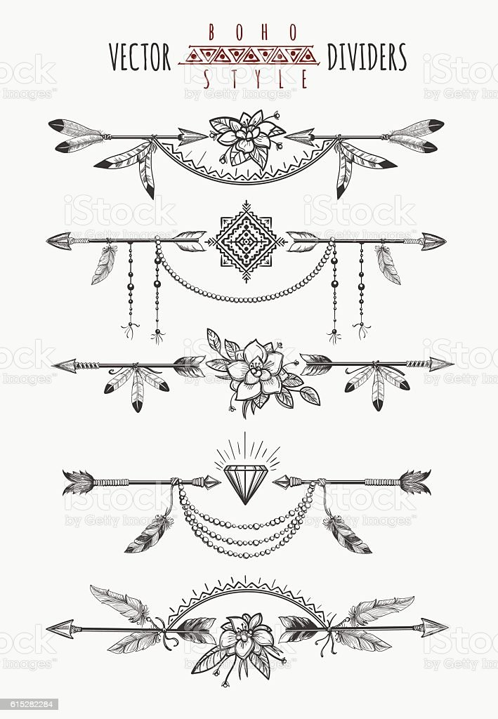 Arrow feather page dividers vector art illustration