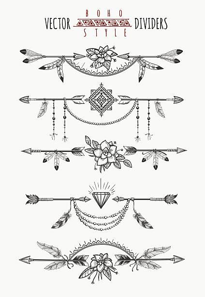 arrow feather page dividers - boho stock-grafiken, -clipart, -cartoons und -symbole