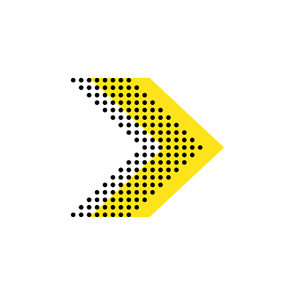 Arrow flat vector isolated direction illustration. Dotted shape icon concept design.