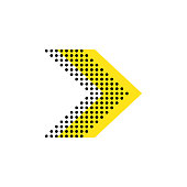 istock Arrow flat vector isolated direction illustration. Dotted shape icon concept design. 1216533609