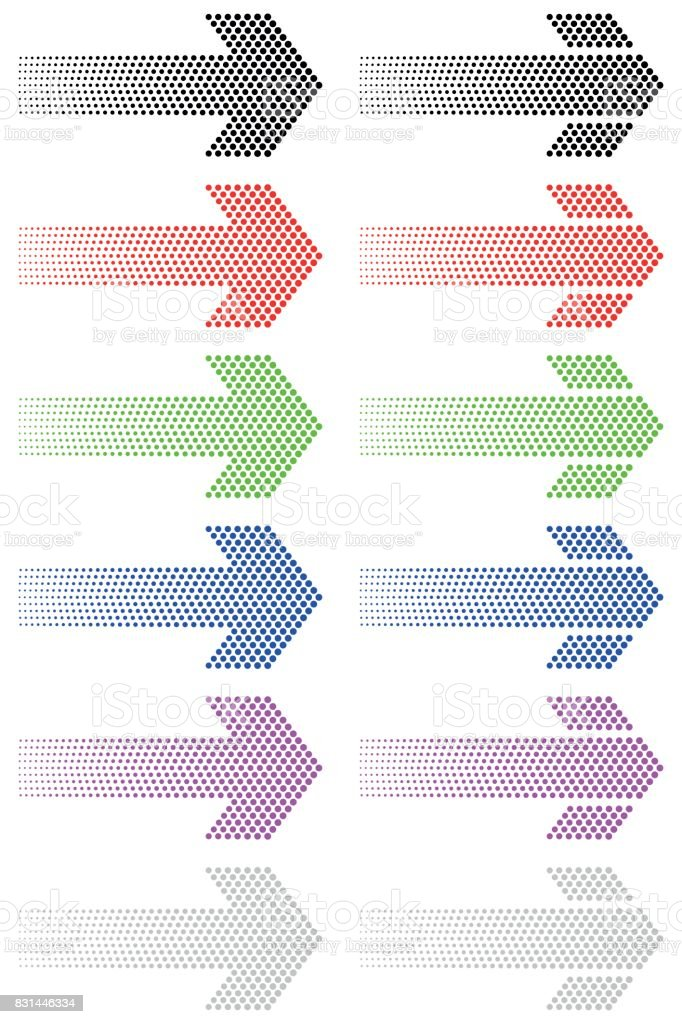 Arrow from decreasing dots vector art illustration