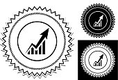 Arrow From The Graph Goes Up.. This image features the main icon on a round sticker design. The image is a black and white vector illustration. It's placed against a white background. There are two more alternative designs of the seal on the right of the image. This royalty free vector illustration is easy to modify.