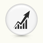 Arrow From The Graph Goes Up.The icon is white and is placed on a round vector button. The button is light in color and the background is light as well. The composition is simple and elegant. There is a small shadow under the button. The vector icon is the most prominent part if this illustration.