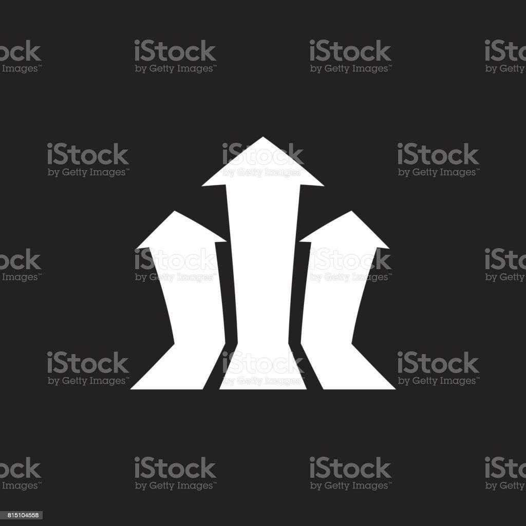 Wachsende Diagramm Vektor Pfeilsymbol. Fortschritt-Pfeil wachsen Zeichen Abbildung. Business-Konzept. – Vektorgrafik