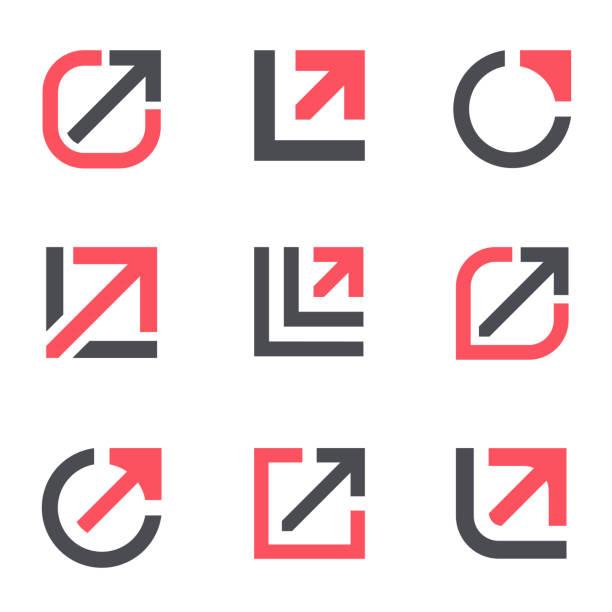 ilustrações de stock, clip art, desenhos animados e ícones de arrow growth  design template. vector icon set - circular economy