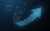 Low poly wireframe mesh looks like constellation on night sky. Crumbled edge. Growth, success, direction symbol. Concept illustration or background.