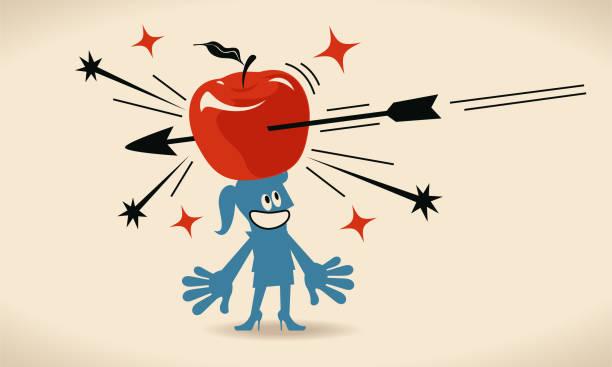 pfeil trifft einen großen apfel auf dem kopf geschäftsfrau (frau, mädchen) - kopfschüsse stock-grafiken, -clipart, -cartoons und -symbole