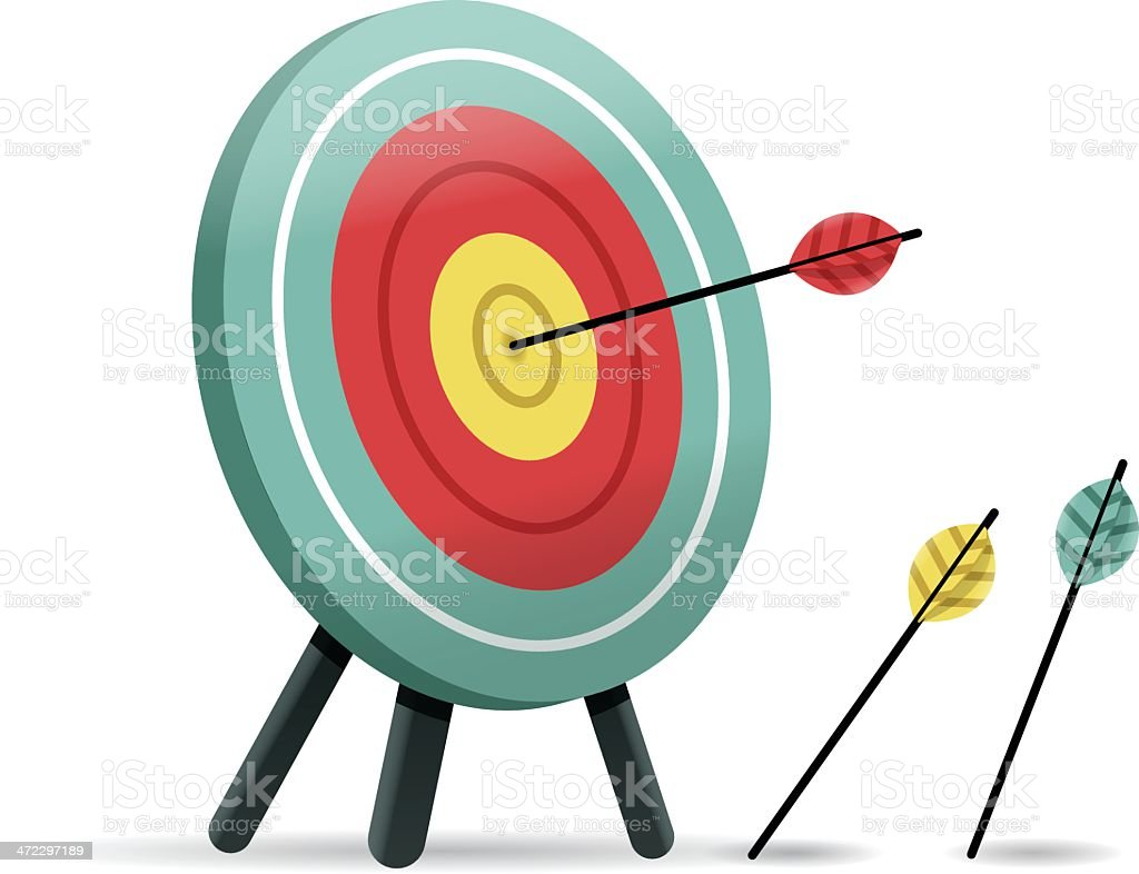 Arrow Hitting a Target royalty-free arrow hitting a target stock vector art & more images of accuracy