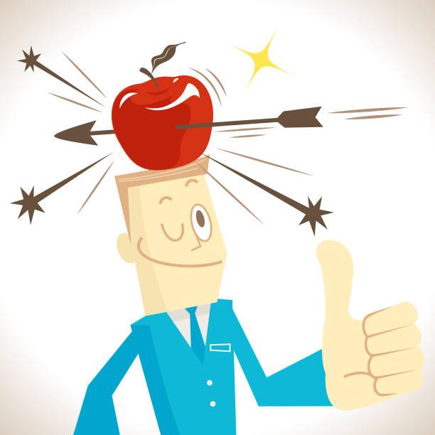 pfeil schlagen einen apfel auf den kopf ein geschäftsmann, daumen der mann gestikulierte hoch - kopfschüsse stock-grafiken, -clipart, -cartoons und -symbole