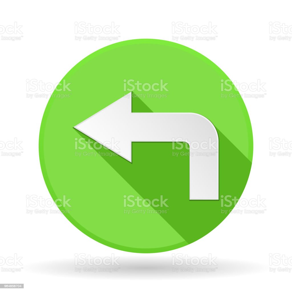 Arrow icon. Green round sign with shadow. Left arrow royalty-free arrow icon green round sign with shadow left arrow stock vector art & more images of advice