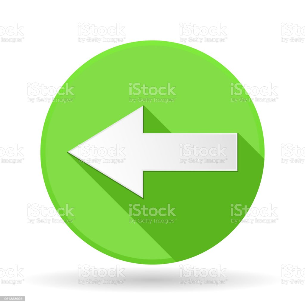 Arrow icon. Green round sign with shadow. Left arrow royalty-free arrow icon green round sign with shadow left arrow stock illustration - download image now
