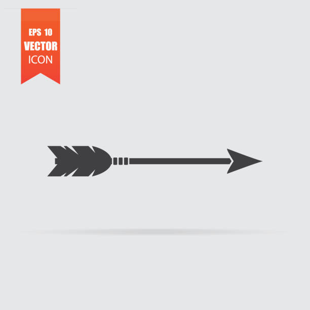 Arrow icon in flat style isolated on grey background. vector art illustration