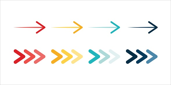 Arrow icon set. Colored arrow symbols. Arrow of different types. Arrow isolated vector graphic elements.