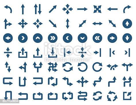 Arrow icon set in flat style. Vector symbols