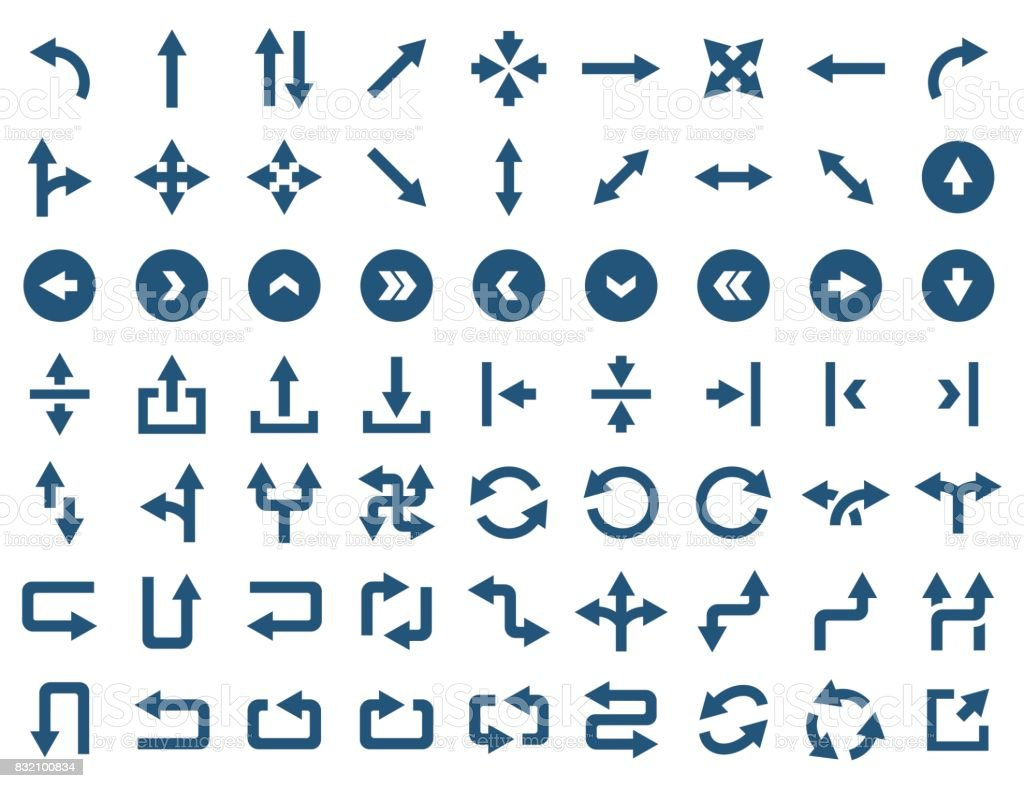 Arrow icon set in flat style. Vector symbols - illustrazione arte vettoriale