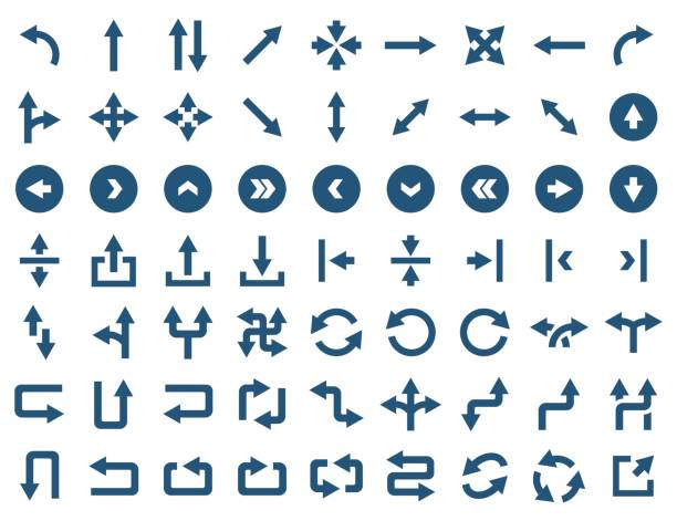 Arrow icon set in flat style. Vector symbols Arrow icon set in flat style. Vector symbols bending over backwards stock illustrations