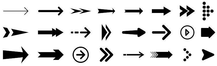 Arrow icon set isolated on white Background