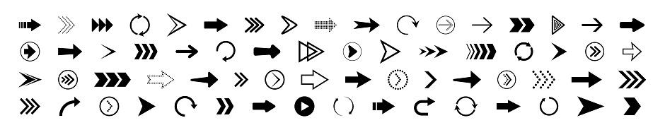 Arrow icon. set of right arrows. Icons for button of next, forward, down, up, back and rewind. Symbols of web navigation. Black signs for direction. Modern logos for app, website. Vector.