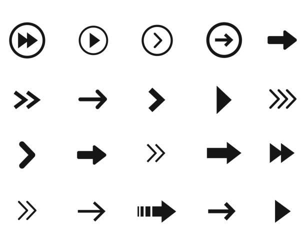 Arrow icon set, vector arrow black collection. Arrow icon set, vector arrow flat black collection. narrow stock illustrations